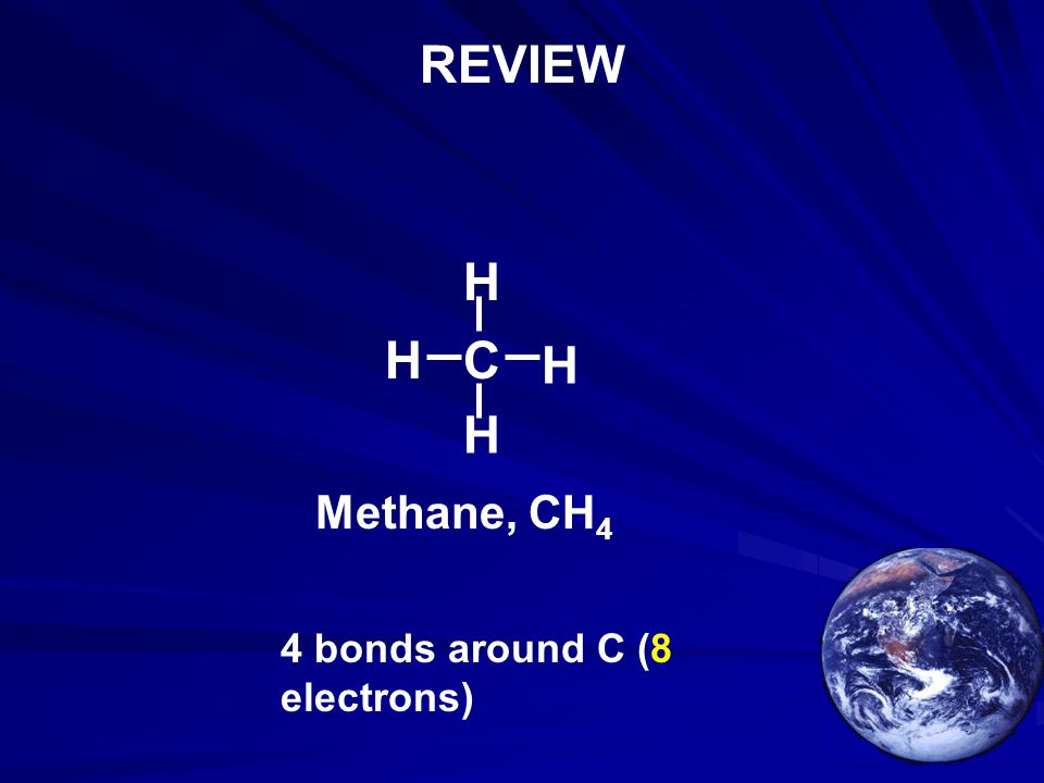REVIEW H H C H H Methane, CH4 4 bonds around C (8 electrons)
