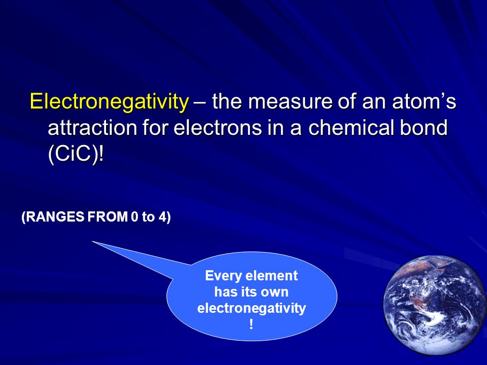 Every element has its own electronegativity!