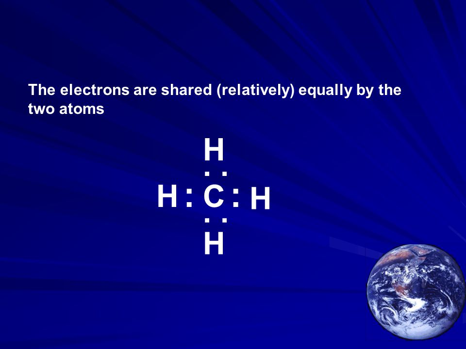The electrons are shared (relatively) equally by the two atoms