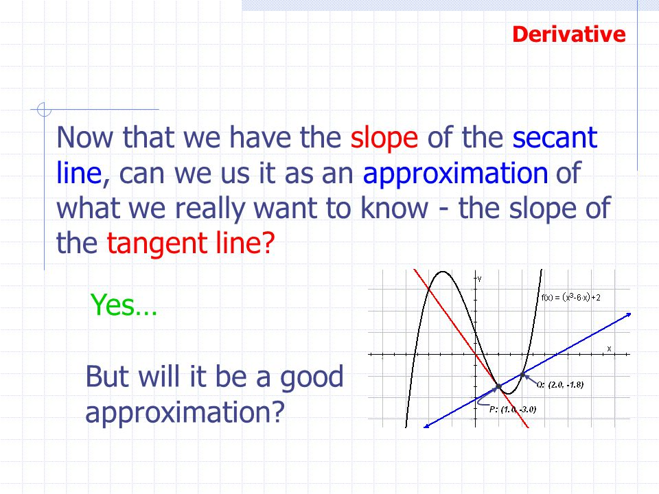 Now that we have the slope of the secant line, can we us it as an approximation of what we really want to know - the slope of the tangent line