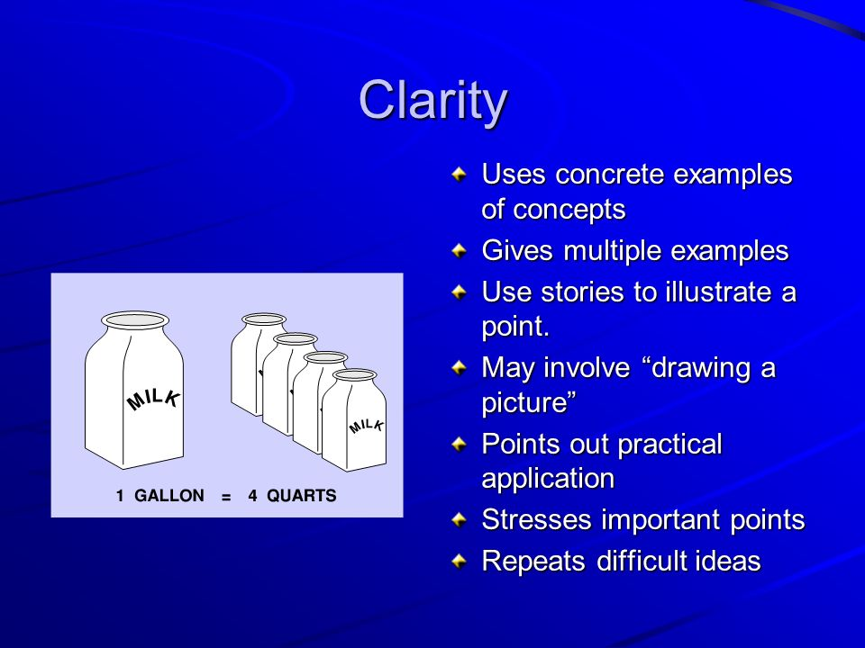 Clarity Uses concrete examples of concepts Gives multiple examples