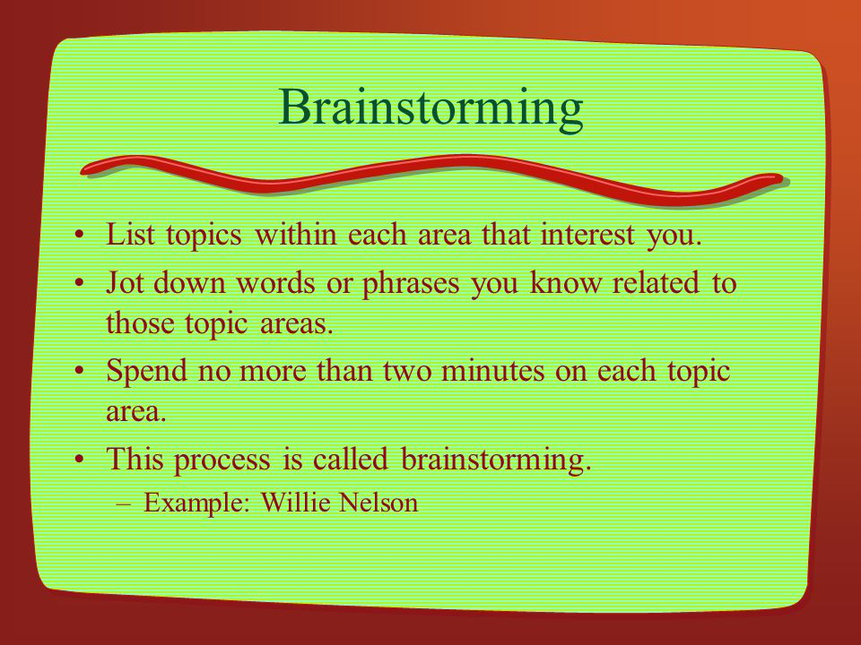 Brainstorming List topics within each area that interest you.