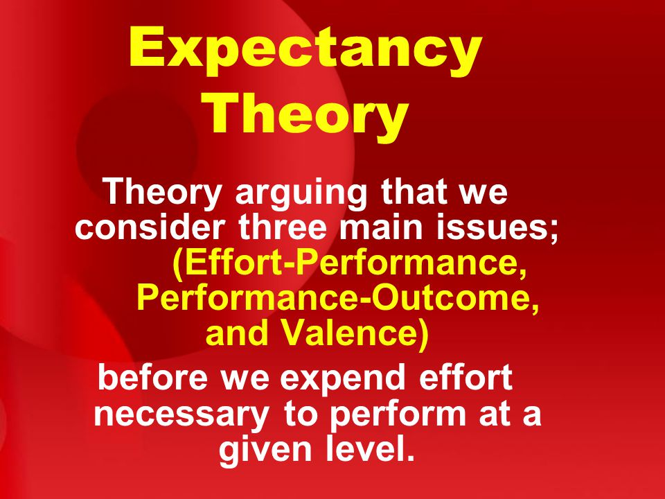 before we expend effort necessary to perform at a given level.
