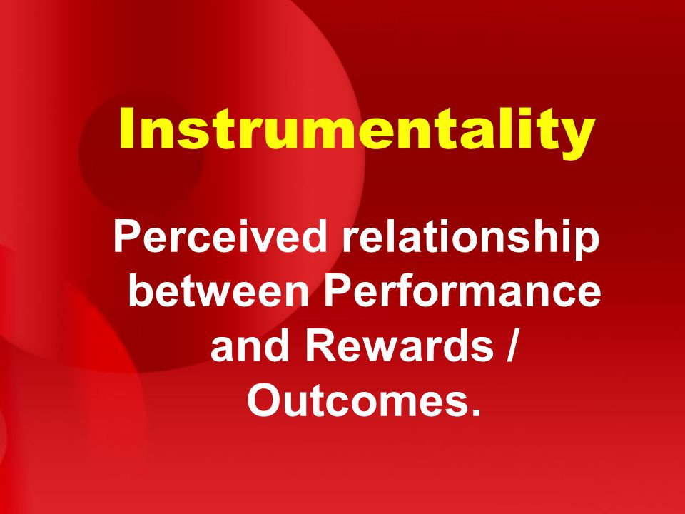 Perceived relationship between Performance and Rewards / Outcomes.
