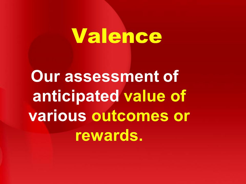 Our assessment of anticipated value of various outcomes or rewards.