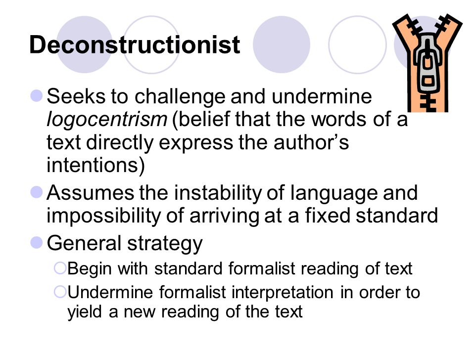 Deconstructionist Seeks to challenge and undermine logocentrism (belief that the words of a text directly express the author's intentions)