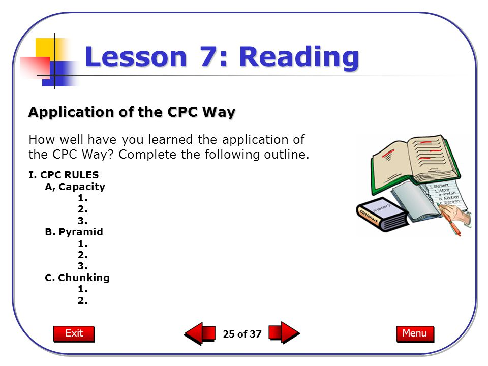 Lesson 7: Reading Application of the CPC Way