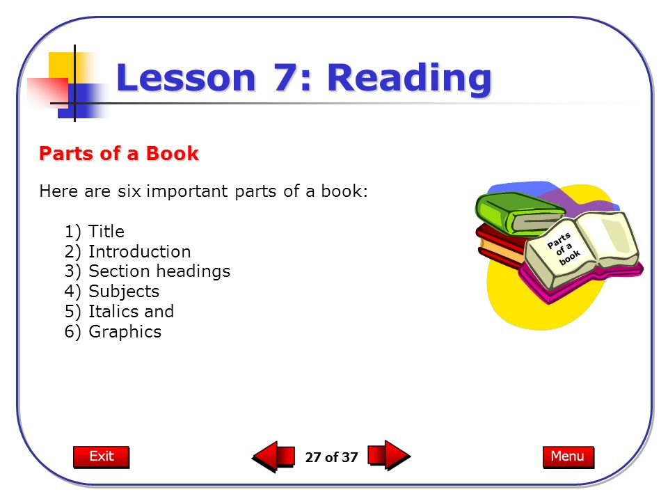Lesson 7: Reading Parts of a Book