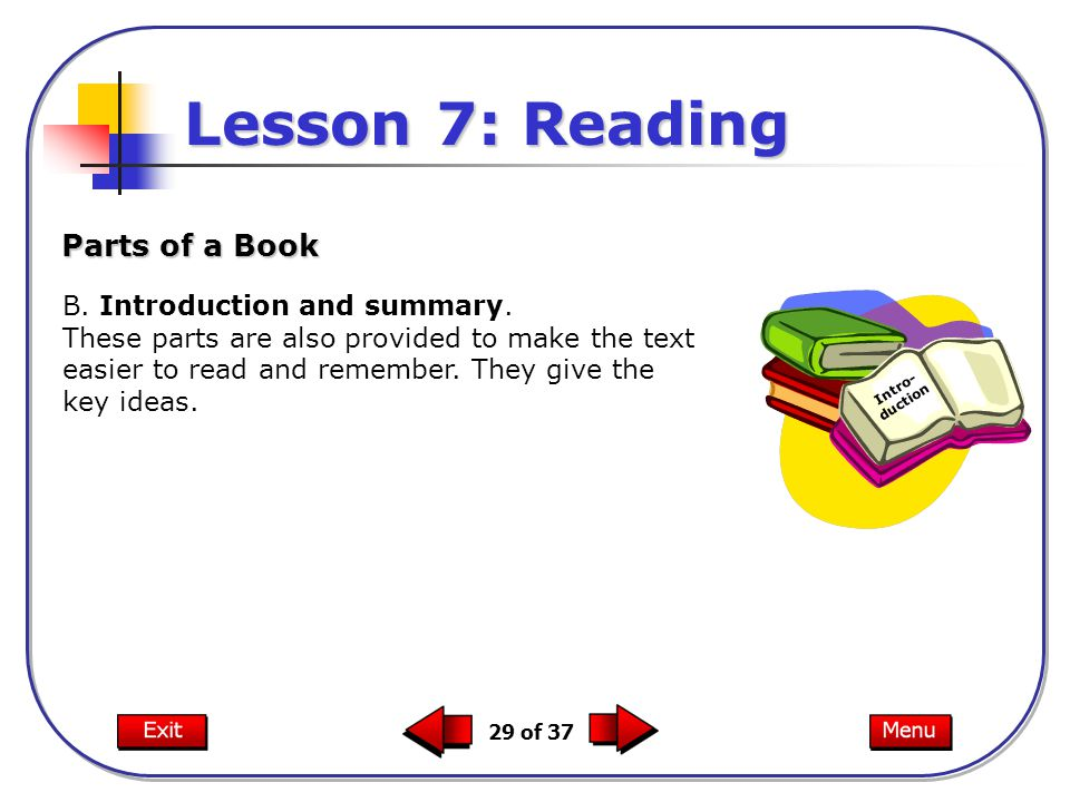 Lesson 7: Reading Parts of a Book B. Introduction and summary.