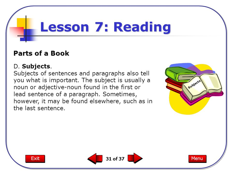 Lesson 7: Reading Parts of a Book D. Subjects.