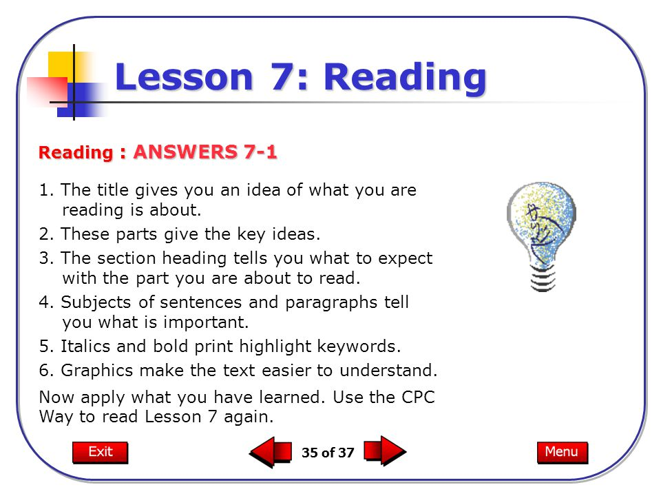 Lesson 7: Reading Reading : ANSWERS 7-1