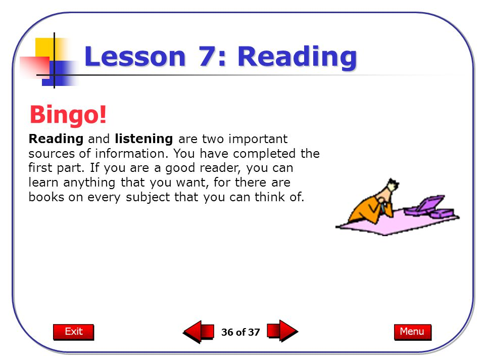 Lesson 7: Reading Bingo!
