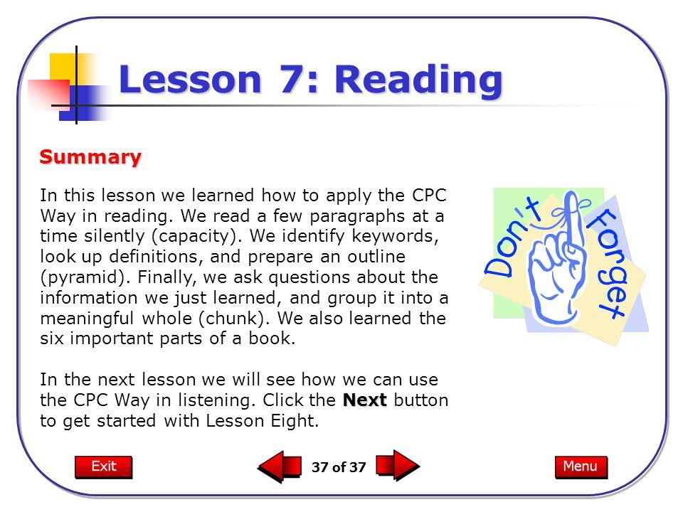 Lesson 7: Reading Summary