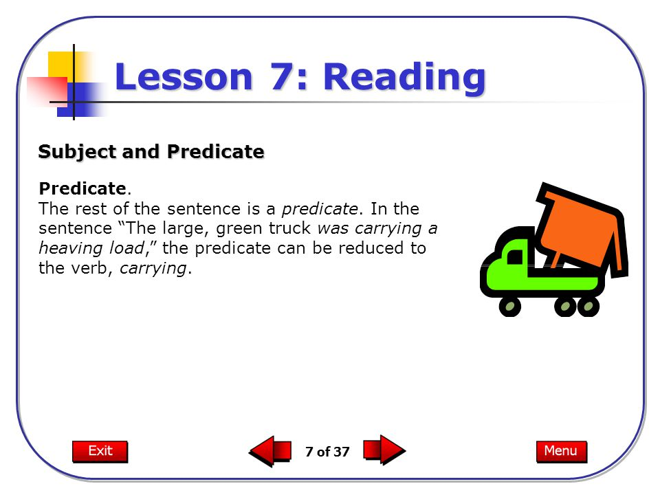 Lesson 7: Reading Subject and Predicate Predicate.