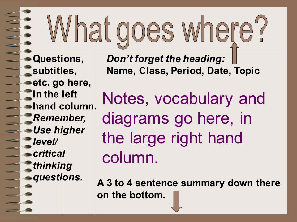What goes where Questions, subtitles, etc. go here, in the left. hand column. Remember, Use higher.