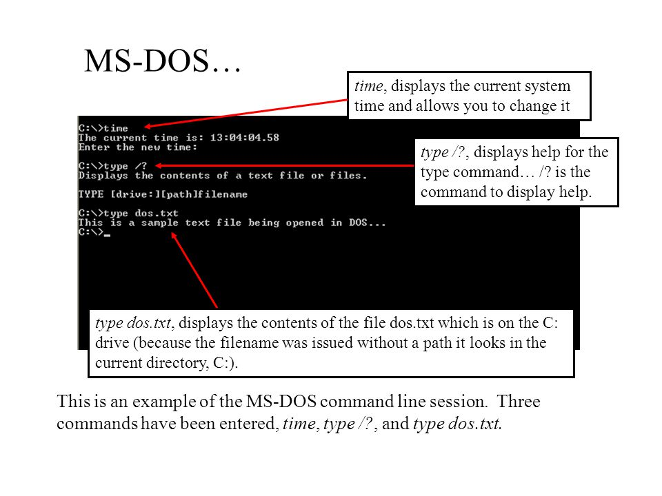 MS-DOS… time, displays the current system time and allows you to change it.