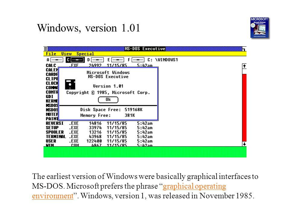 Windows, version 1.01
