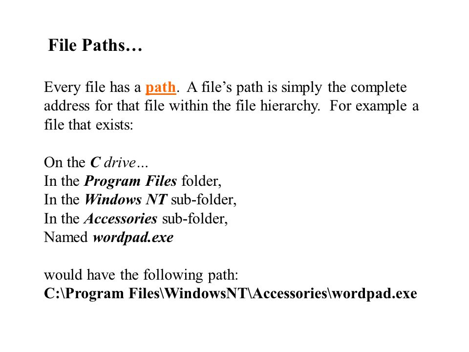 File Paths…
