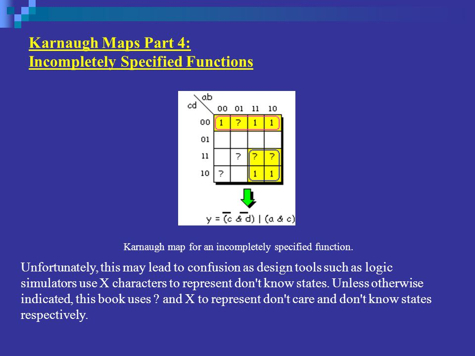 Karnaugh Maps Part 4: Incompletely Specified Functions