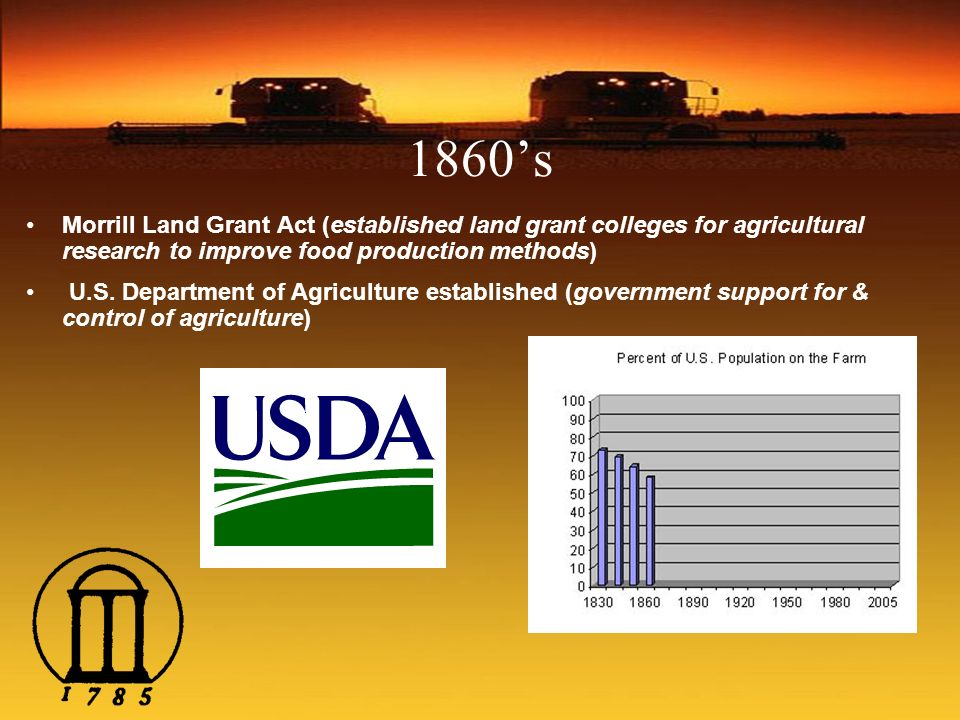 1860's Morrill Land Grant Act (established land grant colleges for agricultural research to improve food production methods)