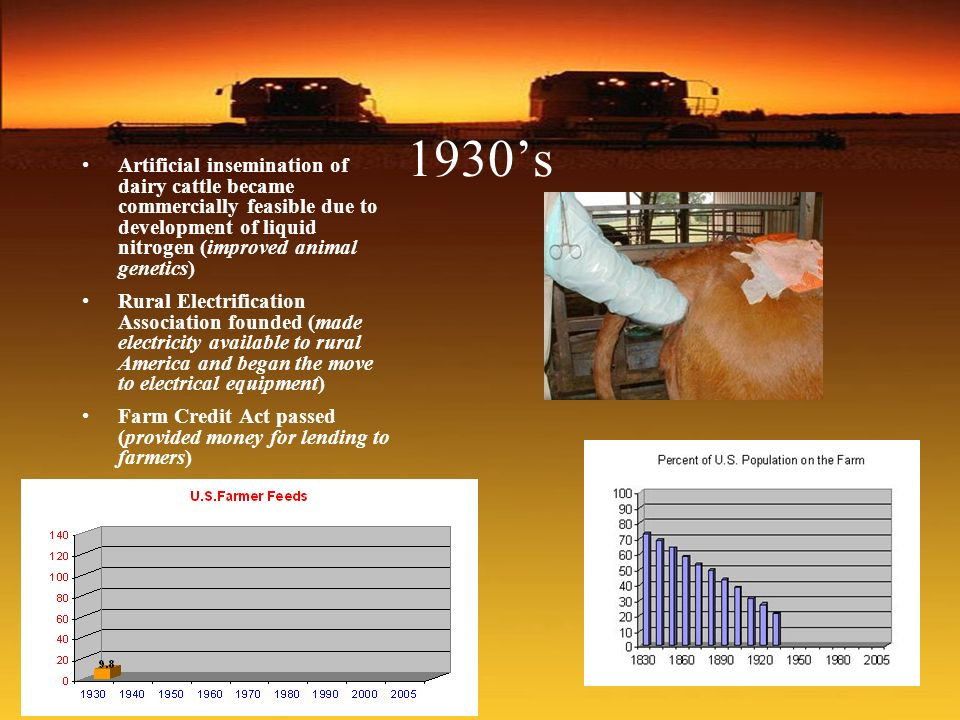 1930's Artificial insemination of dairy cattle became commercially feasible due to development of liquid nitrogen (improved animal genetics)