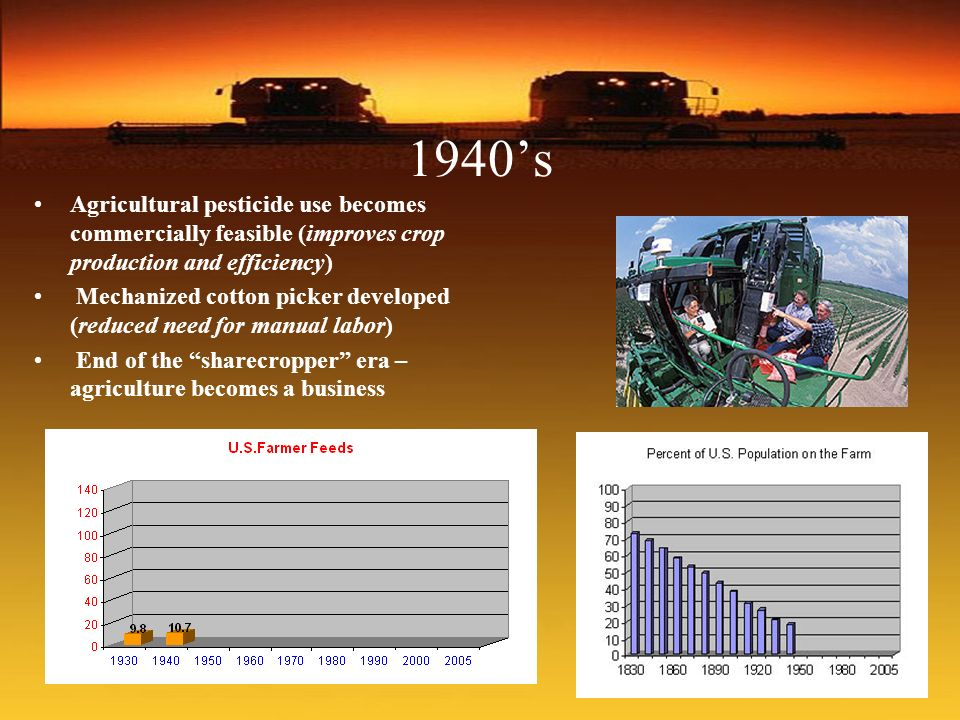 1940's Agricultural pesticide use becomes commercially feasible (improves crop production and efficiency)