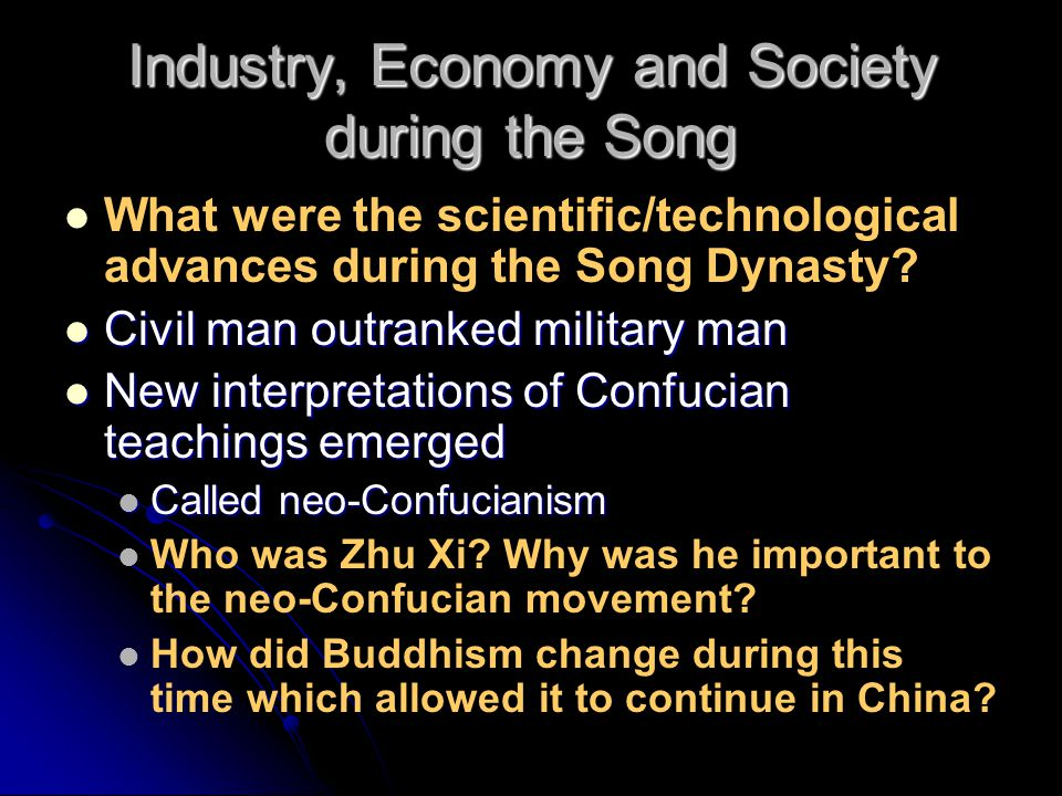 Industry, Economy and Society during the Song