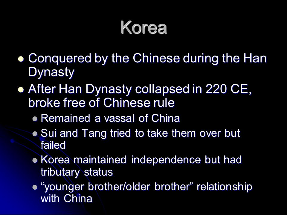Korea Conquered by the Chinese during the Han Dynasty