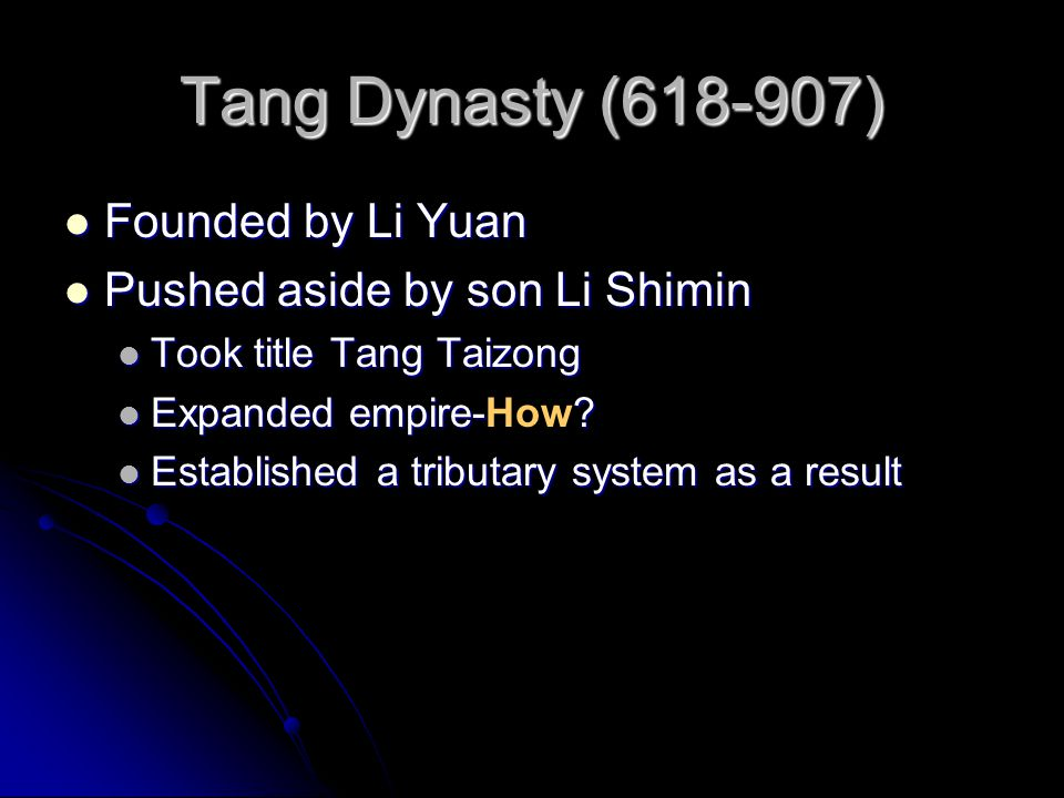 Tang Dynasty (618-907) Founded by Li Yuan