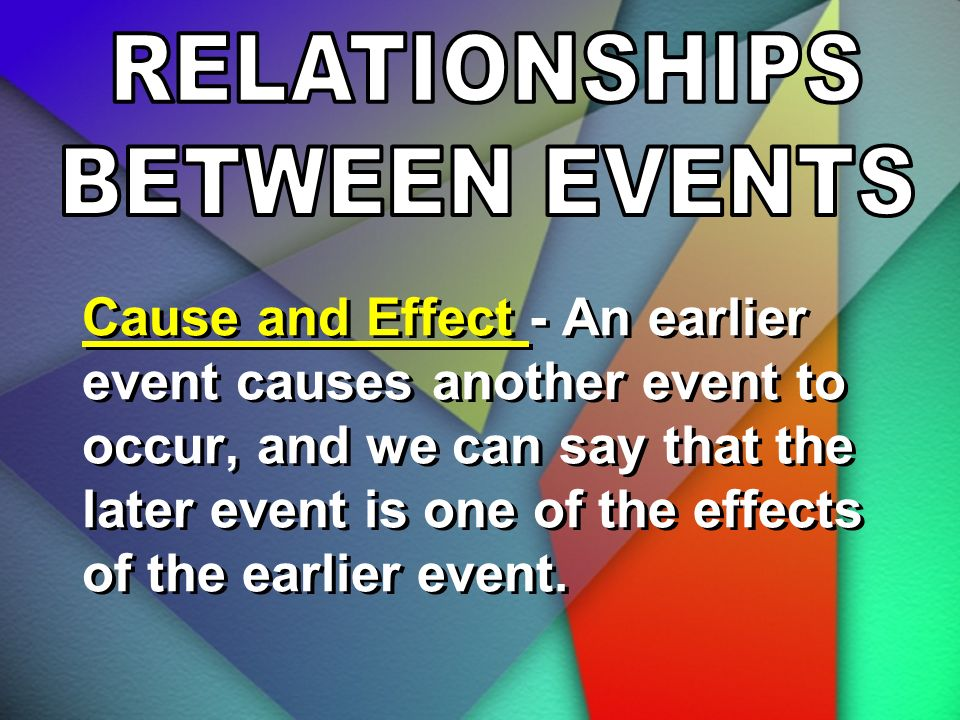 RELATIONSHIPS BETWEEN EVENTS.