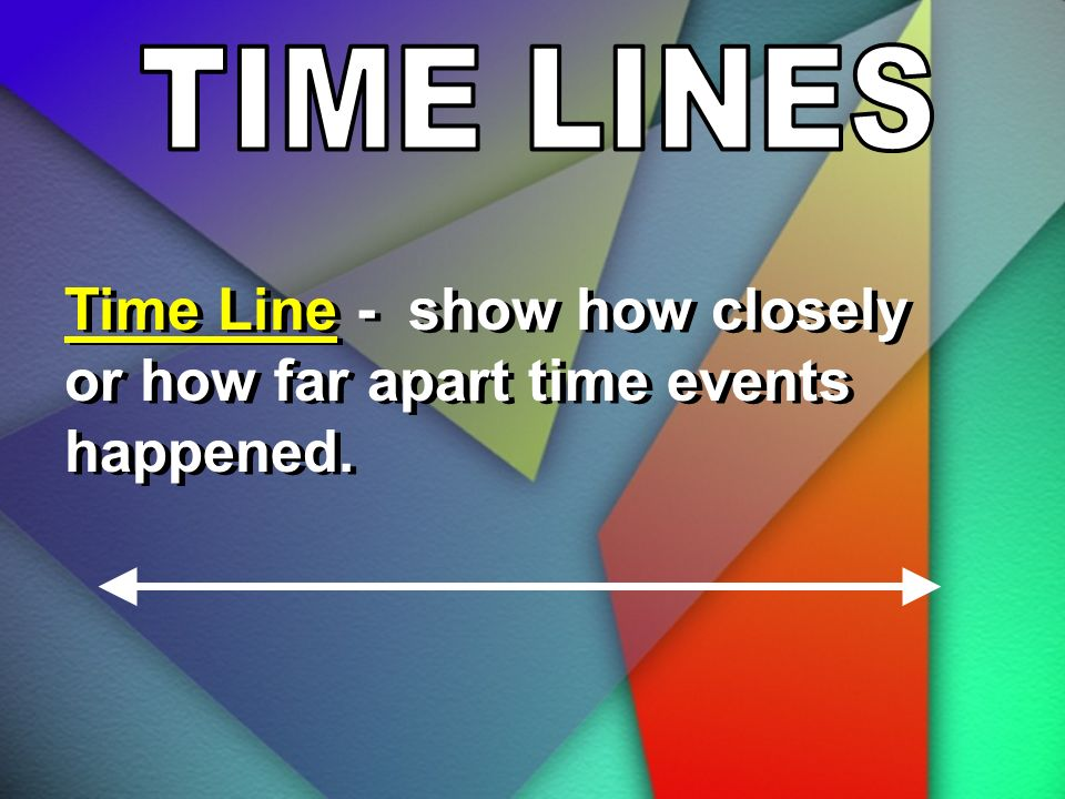 Time Line - show how closely or how far apart time events happened.