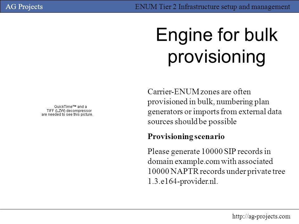 Engine for bulk provisioning