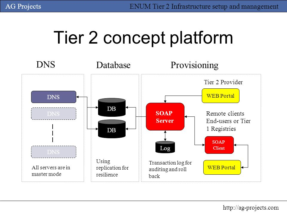 Tier 2 concept platform DNS Database Provisioning Tier 2 Provider DNS