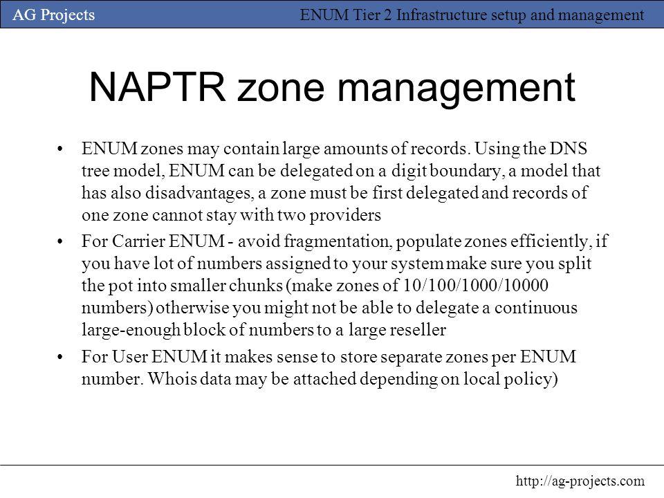NAPTR zone management