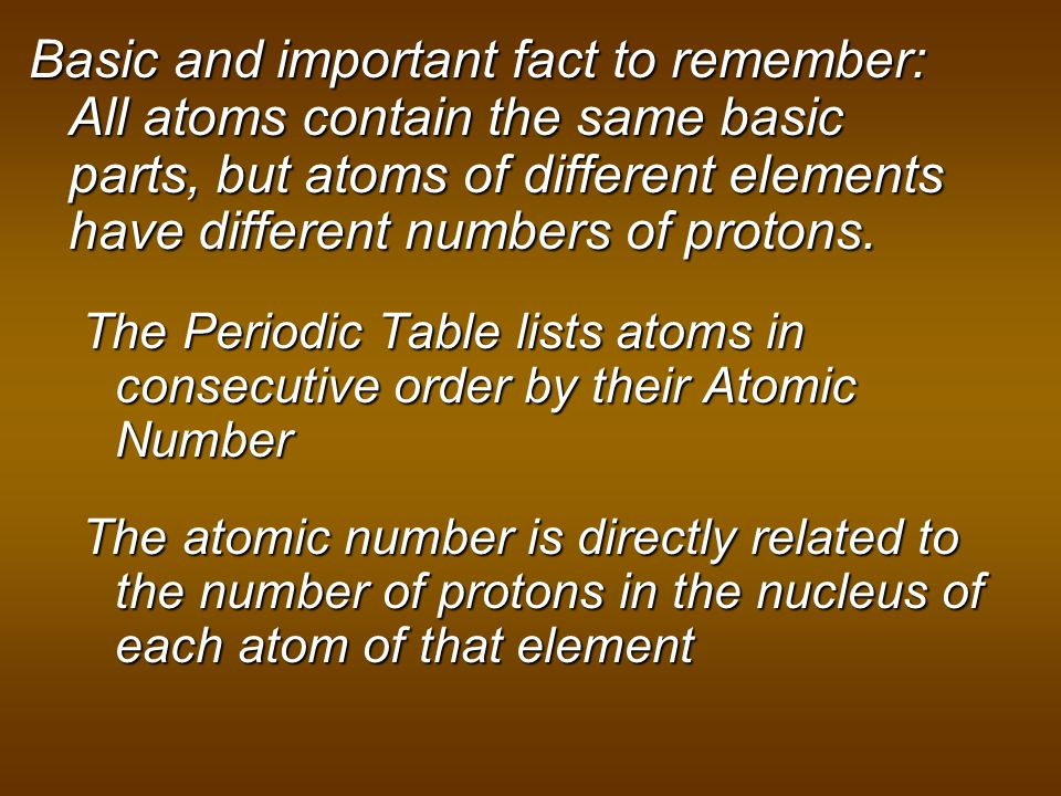 Basic and important fact to remember: All atoms contain the same basic parts, but atoms of different elements have different numbers of protons.
