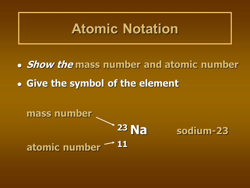 Atomic Notation atomic number 11