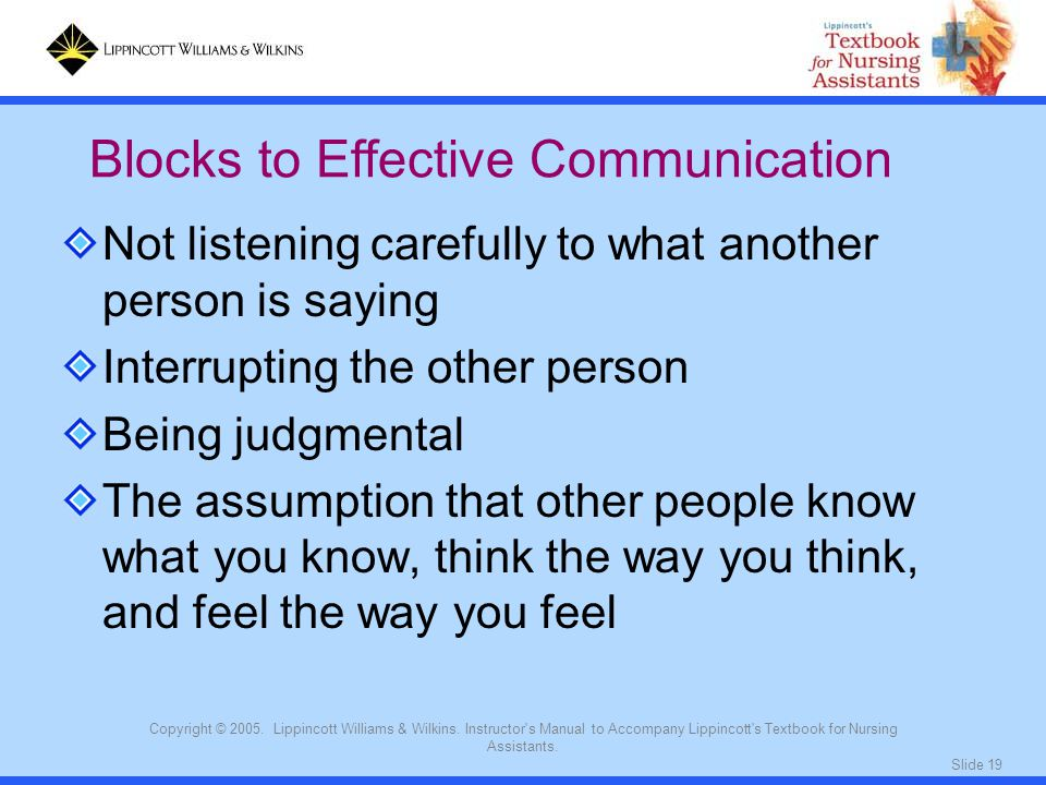 Blocks to Effective Communication
