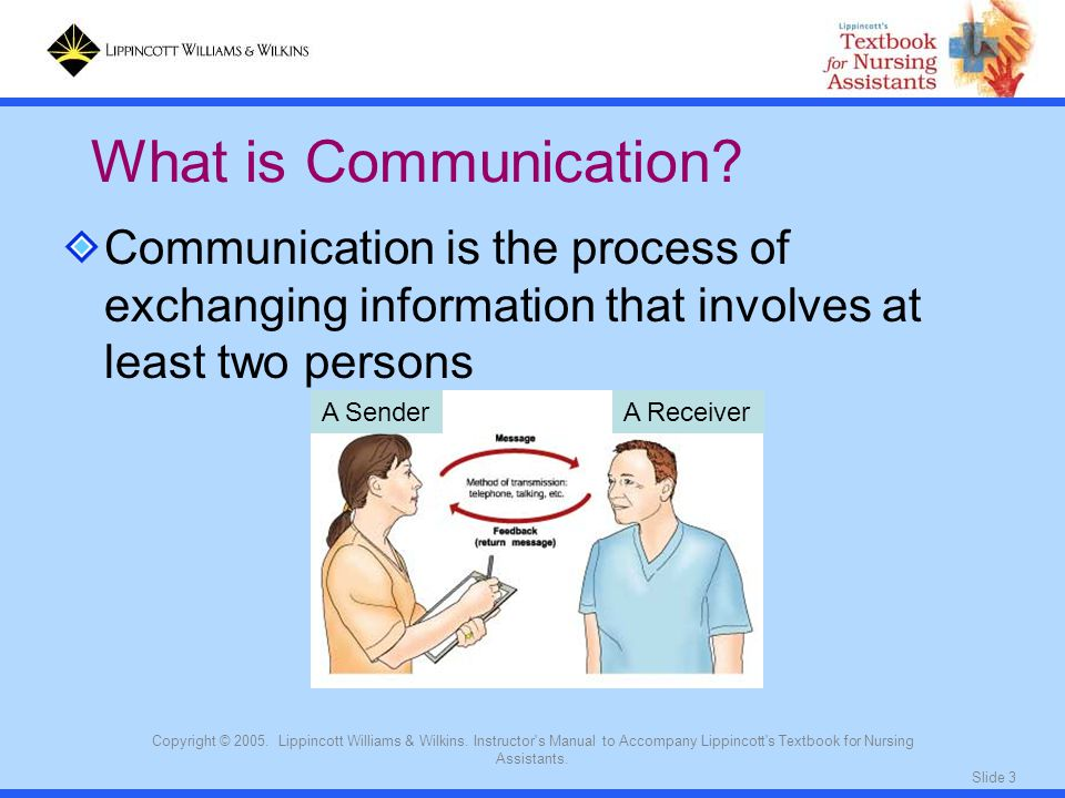 What is Communication Communication is the process of exchanging information that involves at least two persons.