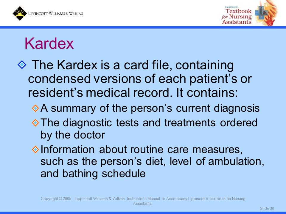 Kardex The Kardex is a card file, containing condensed versions of each patient's or resident's medical record. It contains: