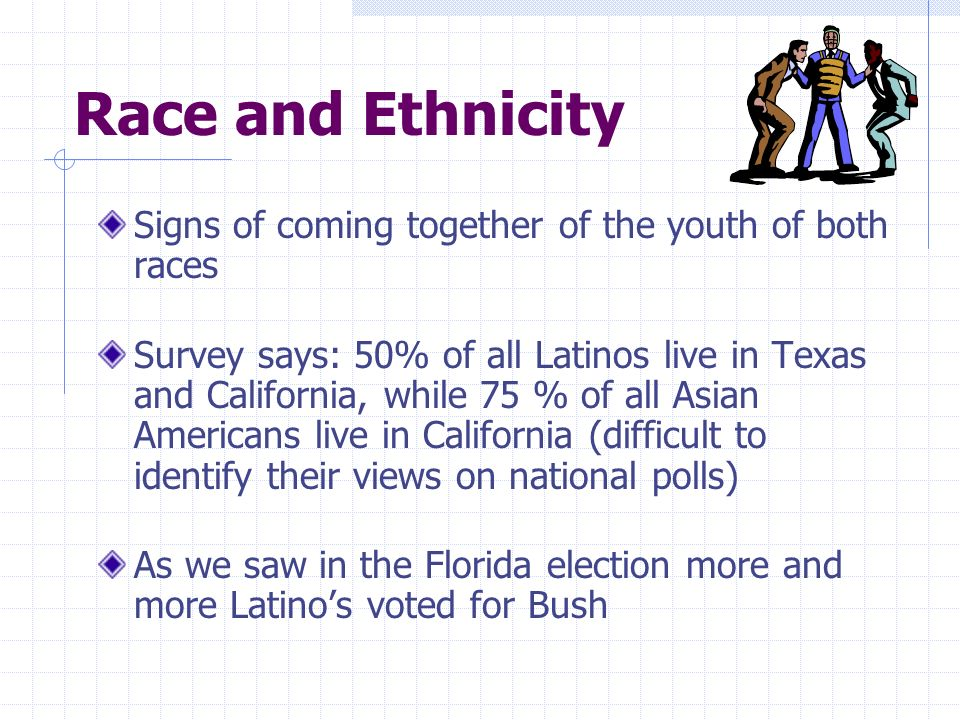 Race and Ethnicity Signs of coming together of the youth of both races