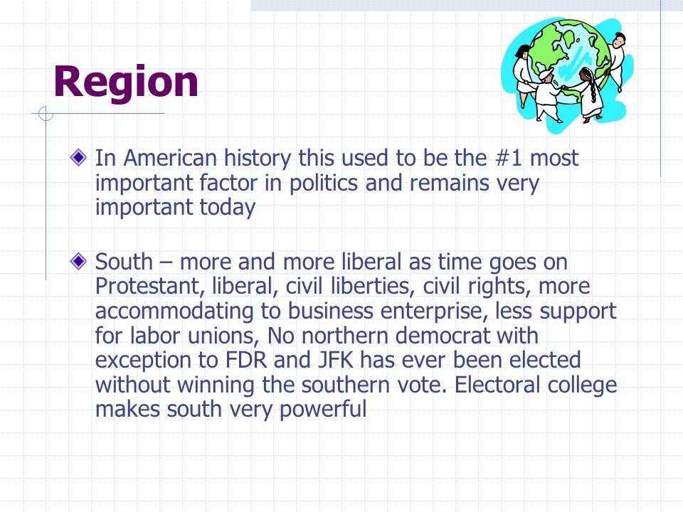 Region In American history this used to be the #1 most important factor in politics and remains very important today.