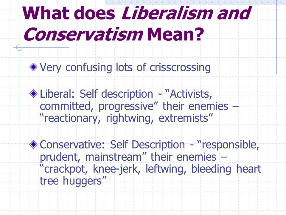 What does Liberalism and Conservatism Mean