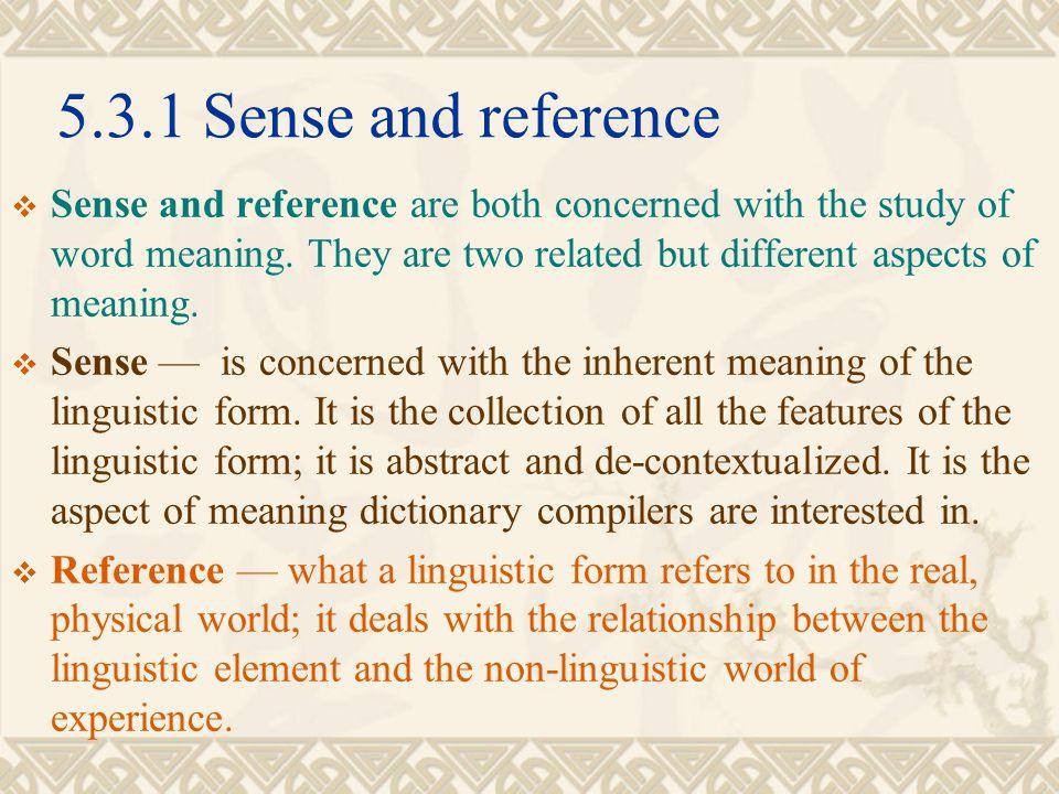5.3.1 Sense and reference