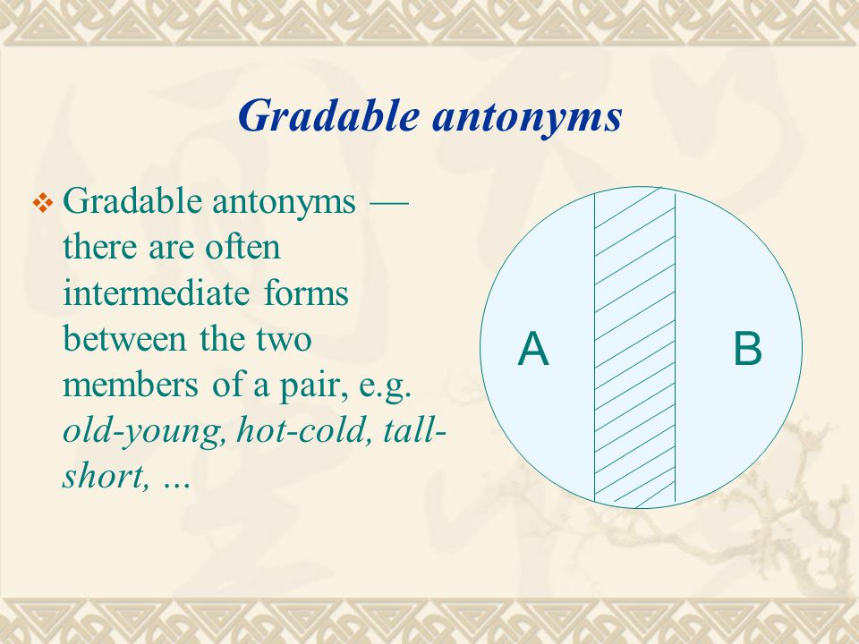 Gradable antonyms Gradable antonyms — there are often intermediate forms between the two members of a pair, e.g. old-young, hot-cold, tall-short, …