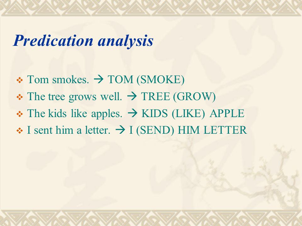 Predication analysis Tom smokes.  TOM (SMOKE)