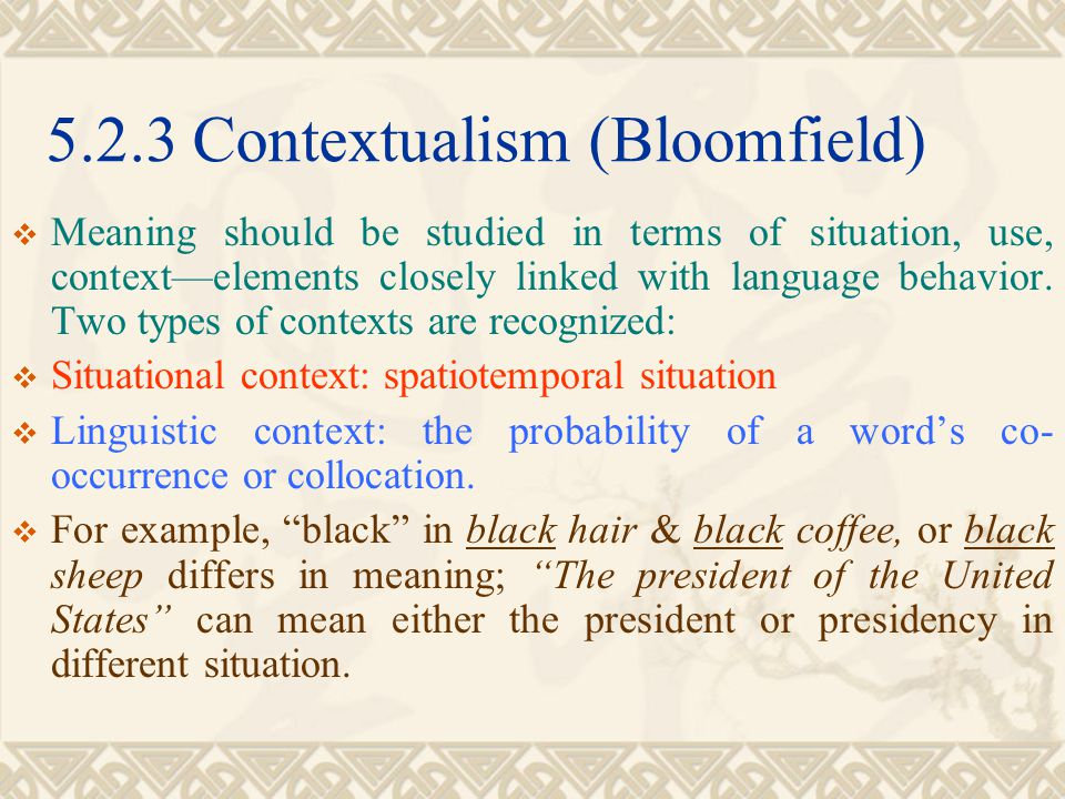 5.2.3 Contextualism (Bloomfield)