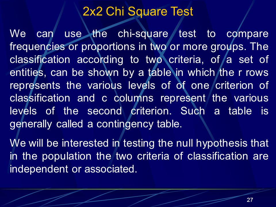 2x2 Chi Square Test