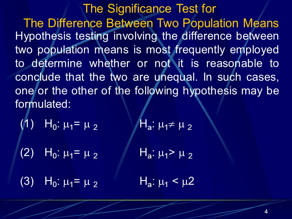 The Significance Test for The Difference Between Two Population Means