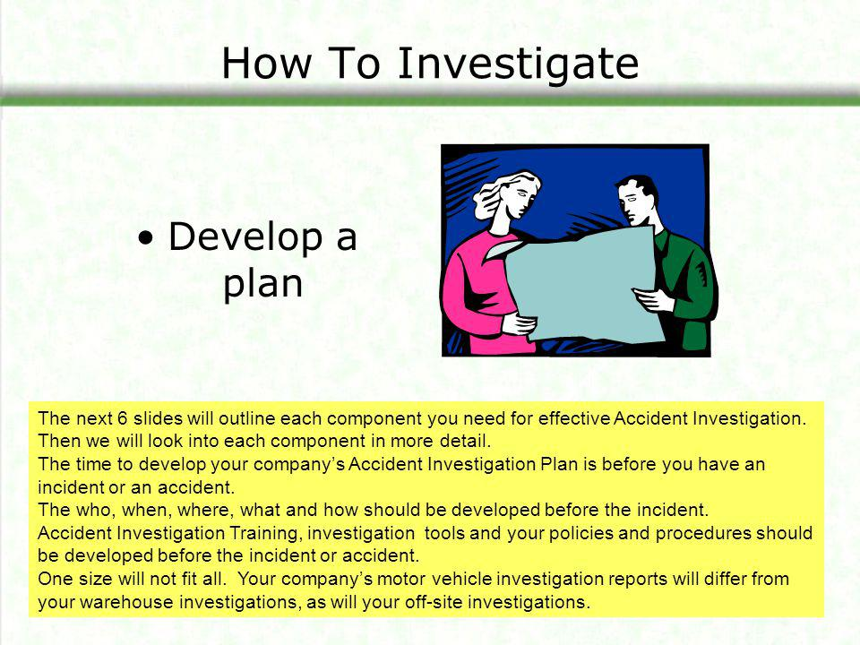 How To Investigate Develop a plan