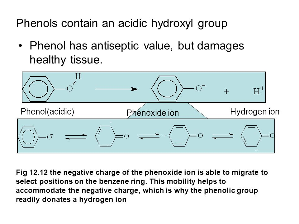 Phenols contain an acidic hydroxyl group